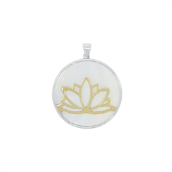 Pendant Lotus Silver goldplated on MOP, 3,9cm