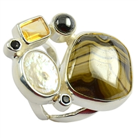 Ring Sphalerite, Pearl, Hematite, Citrin and Spinell, open Bar