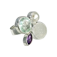 Ring Amethyst, Topaz, Pearl, Agate, Size 53