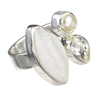Ring Topaz, Pearl, Agate, Size 60
