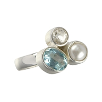 Ring Topaz, Pearl, Size 59