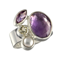 Ring Amethyst, Topaz, Pearl, Size 57