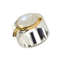 Ring Labradorite white, gold plated setting, Size 55