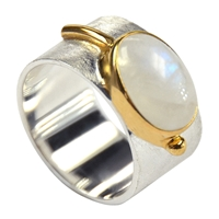 Ring Labradorite white, Size 59, goldplated setting
