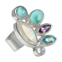 Ring Larimar, Labradorite white, Amethyst and Topaz, Size 61