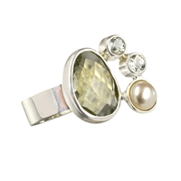 Ring Prasiolite, Topaz and Pearl, Size 55