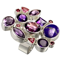 Ring Amethyst, Sugilite, Tourmaline, Size 57