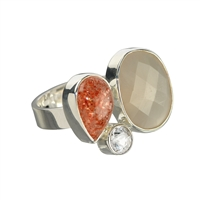 Ring Moonstone, Sunstone and Topaz, Size 55