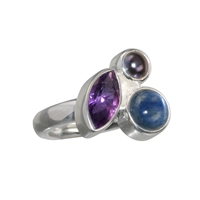 Ring Amethyst, Disthen, Perle, Gr. 57