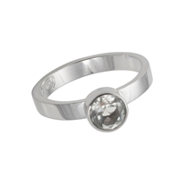 Ring Topaz faceted white (6mm), Size 59