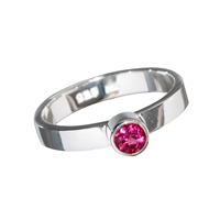 Design Ring with faceted red Tourmaline, size 57