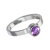 Ring Amethyst faceted (4mm), Size 55