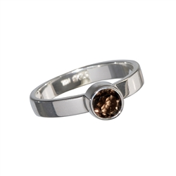Ring Smoky Quartz facetted (4mm), size 55