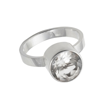 Design Ring with faceted white Topaz, size 53