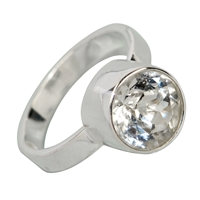 Design Ring with faceted white Topaz, size 58