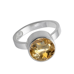 Design Ring Citrine faceted, Size 55