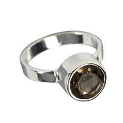 Ring Smoky Quartz facetted (10mm), size 55
