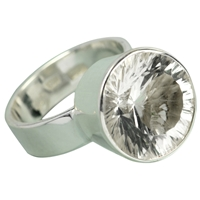 Design Ring Rock Crystal faceted, Size 53