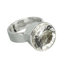 Design Ring Rock Crystal faceted , Size 59