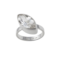 Design Ring with a Navette of faceted white Topaz, size 55