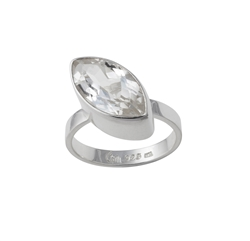 Ring Topaz white facetted (16x9mm), size 57