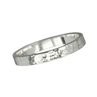 Design Ring Silver hammered, Size 55
