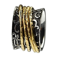 Ring with 4 freewheeling gold plated rings, Size 57