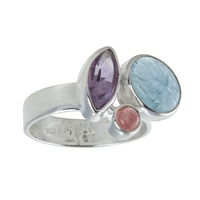 "Ring ""Blue & Berry"", Amethyst, Aquamarine, Tourmaline red, Size 55"