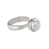 Ring Pearl white (10mm), Size 55