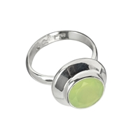 Ring Prehnite, faceted, Size 59