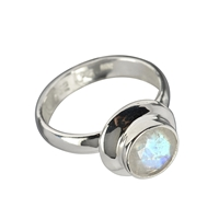 Ring Labradorite white, faceted, Size 53