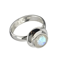 Ring Labradorite white (8mm), faceted, Size 63