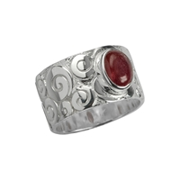 "Ring ""Curly"" Tourmaline red, Size 55"