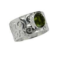 "Ring ""Curly"" Tourmaline green, Size 55"