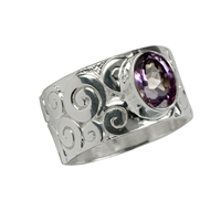 "Ring ""Curly"", Amethyst, Size 57"