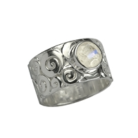 "Ring ""Curly"", Labradorite white, Size 57"