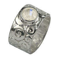 "Ring ""Curly"" Labradorite white, Size 63"