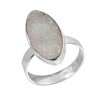 Ring Agate Druzy (20mm), Size 57