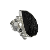 Ring Tektite, Topas white, Spinel black, Perle, Size 55