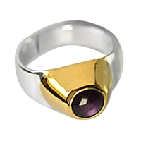 Ring Ruby, Setting gold plated, Size 55