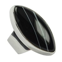 Ring Navette Agate black, Size 63
