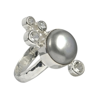 Ring Pearl grey, Topaz, Size 55