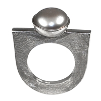 Ring Pearl grey, Size 57