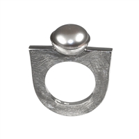 Ring Pearl grey, Size 61
