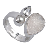 Ring Achat-Druzy, Topas weiss, Perle, Gr. 55