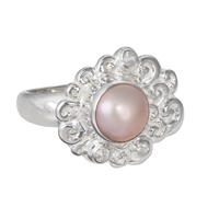 Ring Pearl pink, Topaz, Size 55