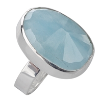 Ring Aquamarine faceted, Size 57
