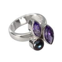 Ring Amethyst, Pearl (dyed), size 57