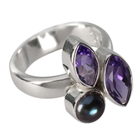 Ring Amethyst, Pearl (dyed), size 63