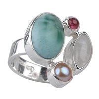 Ring Larimar, Pearl, Tourmaline red, Labradorite white, Size 53